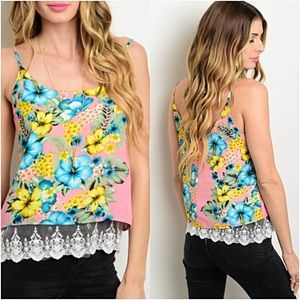 Tops - Lace Hem Lined Floral Spaghetti Strap Blouse SML